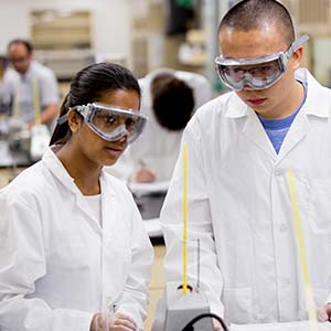 Image of McMaster University Chemistry students conducting experiment in laboratory